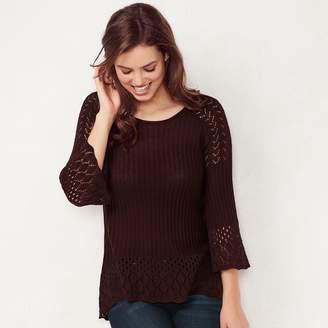 Lauren Conrad Women's Pointelle Scoopneck Sweater