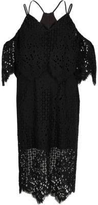 River Island Black broderie lace bodycon midi dress
