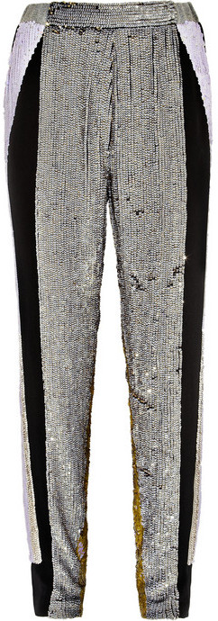 3.1 Phillip Lim Sequined silk tapered track pants