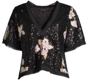 Nanette Lepore Daffodil Floral Sequin Top