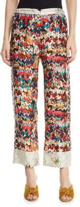 Riviera La Prestic Ouiston Butterfly-Print Silk Pants