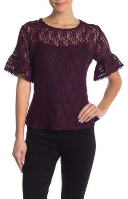 Harve Benard Stretch Lace Sheer Blouse