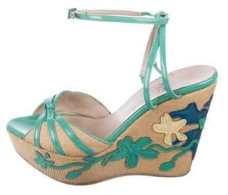 Salvatore Ferragamo Patent Leather Wedge Sandals Turquoise Patent Leather Wedge Sandals