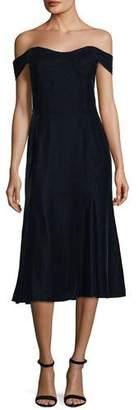 Shoshanna Balmwell Off-the-Shoulder Velvet Cocktail Dress