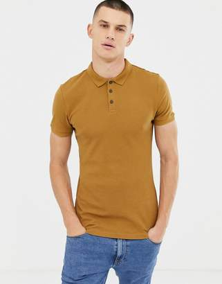New Look ribbed polo in camel