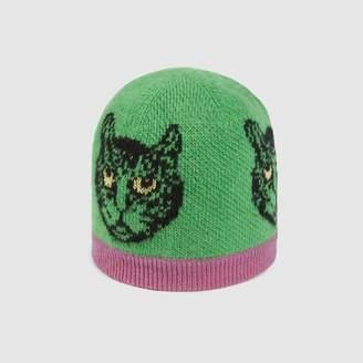 Gucci Baby Mystic Cats jacquard wool hat