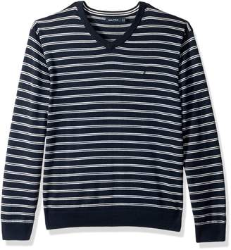 Nautica Men's Long Sleeve Striped Classic V-neck Sweater Sweater,