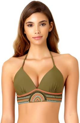 Juniors' California Sunshine Bust Enhancer Embroidered Halter Bikini Top