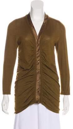 Oscar de la Renta Silk-Trimmed Cashmere Cardigan Silk-Trimmed Cashmere Cardigan