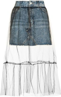 Petite tulle overlay denim skirt $68 thestylecure.com