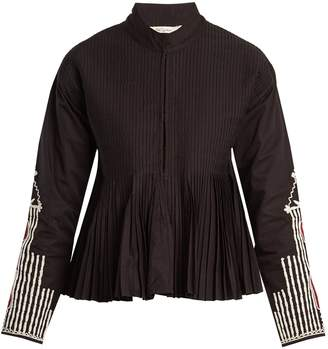 Mes Demoiselles Artemis stand-collar embroidered pleated jacket