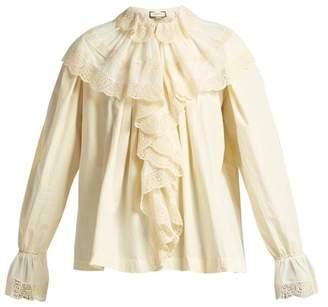 Gucci Macrame Lace Trimmed Cotton Blouse - Womens - White