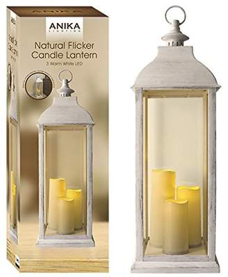 Anika 66980 Natural Flicker 3 Candle Battery Operated Decorative LED Lantern Light, Glass, Transparent, 71 cm