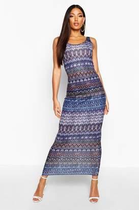 boohoo Printed Sleeveless Maxi Dress
