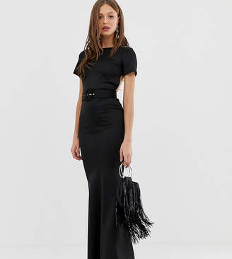 Asos Design DESIGN belted t-shirt maxi dress with open back
