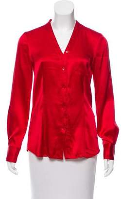 DKNY Silk Long Sleeve Button-Up