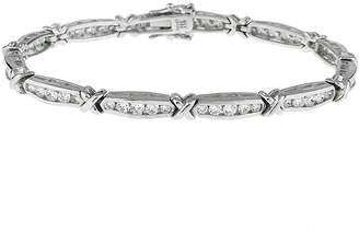 JCPenney FINE JEWELRY DiamonArt Cubic Zirconia Sterling Silver X Link Bracelet