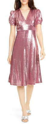HVN Paula Deep V-Neck Sequin Dress