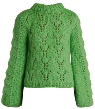 Ganni Julliard Mohair And Wool Blend Sweater - Womens - Green