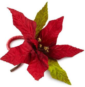 Poinsettia Holiday Napkin Rings, Set of 4