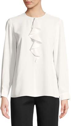 Misook Long-Sleeve Ruffle-Front Shirt