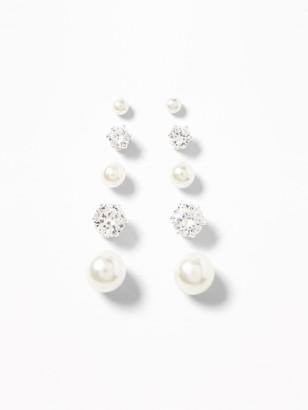 Old Navy Faux-Pearl/Rhinestone Stud Earrings 5-Pack