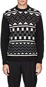 Prada Men's Geometric-Pattern Virgin Wool Sweater - Black