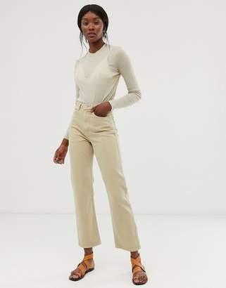 Weekday Row slim straight leg jeans in sand