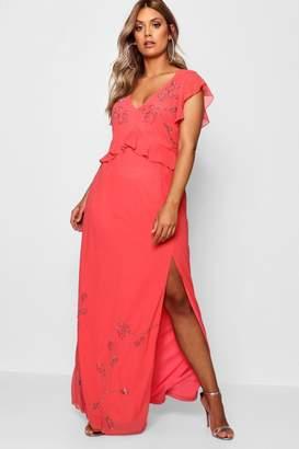 boohoo Plus Boutique Beaded Ruffle Maxi Dress