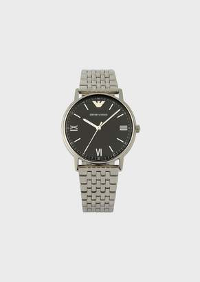 Emporio Armani Stainless Steel Watch With Interwoven Link Strap