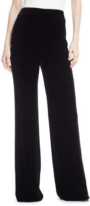Marchesa High-Waist Wide-Leg Velvet Pants