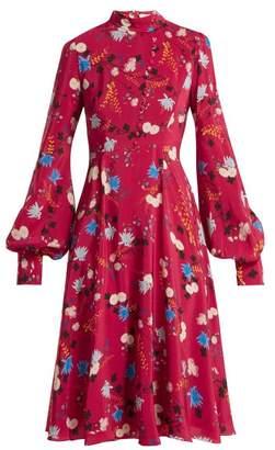 Erdem Neville floral-print stand-collar silk dress