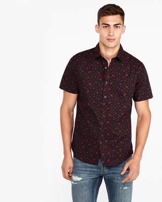 Express Slim Floral Short Sleeve Shirt