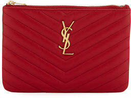 Saint Laurent Monogram Small Chevron Quilted Zip-Top Pouch Bag - Golden Hardware
