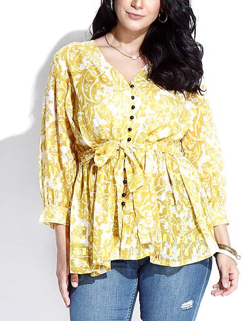 Yellow Floral Textured Chiffon Button-Down Tie-Waist Tunic - Plus