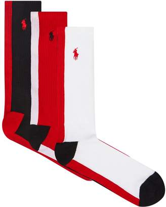 Polo Ralph Lauren Sports Crew Back Stripe Socks (Pack of 3)