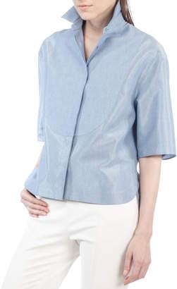 Akris Punto Half-Sleeve Stand-Collar Blouse
