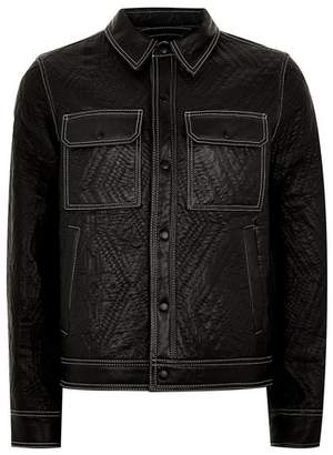 Topman Mens Black Leather Lined Western Jacket