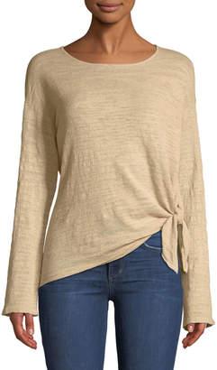 Minnie Rose Knotted-Hem Lightweight Pullover Sweater