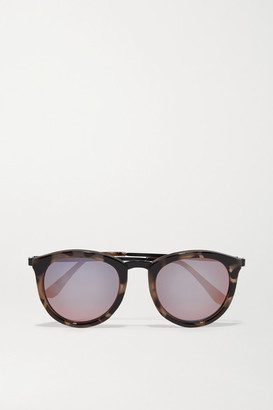 Le Specs No Smirking Round-frame Acetate Mirrored Sunglases - Tortoiseshell