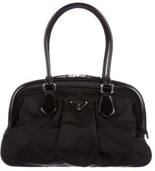 pradaPrada Tessuto Patent Leather-Trimmed Shoulder Bag