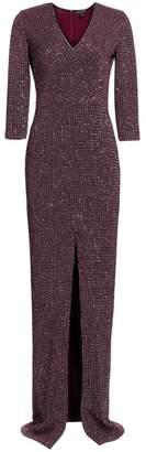 St. John Fine Sequin Tweed V-Neck Column Gown