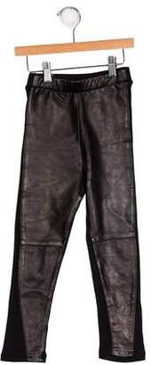 Nununu Girls' Leather-Paneled Leggings