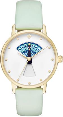 kate spade new york Women's Metro Mint Splash Leather Strap Watch 34mm KSW1286 $195 thestylecure.com