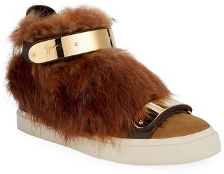 Giuseppe Zanotti Beaver Fur High-Top Sneakers