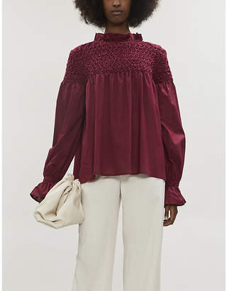 Merlette New York Majorelle long-sleeved cotton-poplin blouse