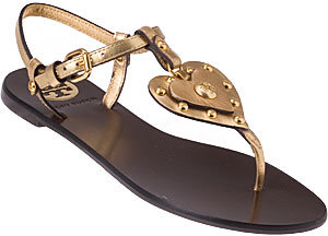 Tory Burch Heart Sandal Gold Leather
