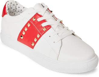 Wild Diva Lounge White & Red Cyn Studded Sneakers