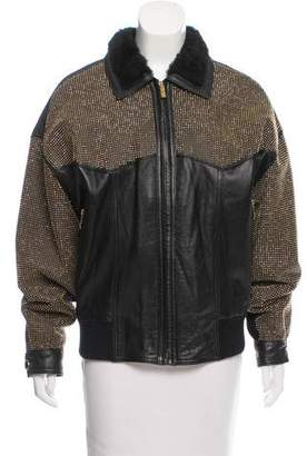 Versus Stud-Embellished Leather Jacket