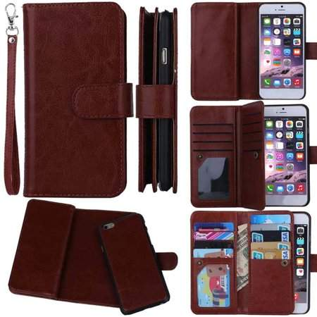 Hanyulore New 9 Card Slots Holder Flip Wallet Leather Cover with Strap for iphon e6/6s